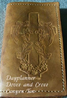 Custom Made Custom Leather Day Planner With Dove And Cross Design In Canyon Tan