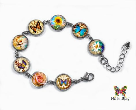 Custom Made Flower And Butterfly Bracelet Stainless Steel