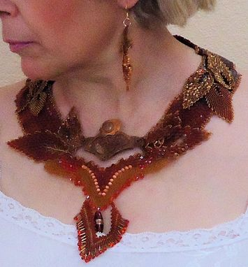Custom Made Beaded Necklace And Earrings With Copper