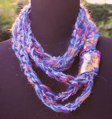 Custom Made Azure - Twisted Scarf With Marbled Clay Gold Embossed Clasp
