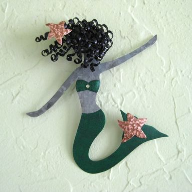 "Custom Made Handmade Upcycled Metal Mermaid Sculpture ""Fern''"
