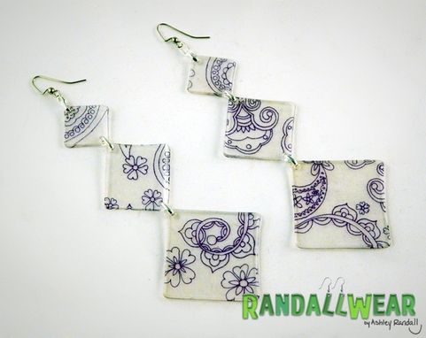Custom Made Hand Drawn Paisley Purple Translucent Statement Earrings