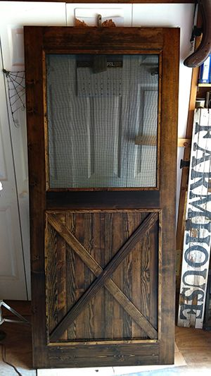 hand crafted custom made re milled barn wood screen door