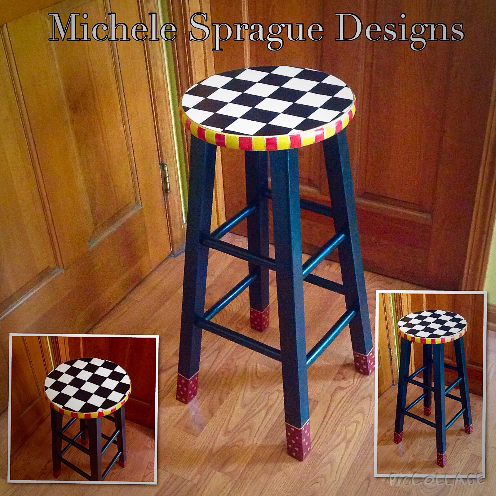 Groovy Buy A Hand Made Painted Bar Stool 24 Or 29 Custom Round Caraccident5 Cool Chair Designs And Ideas Caraccident5Info