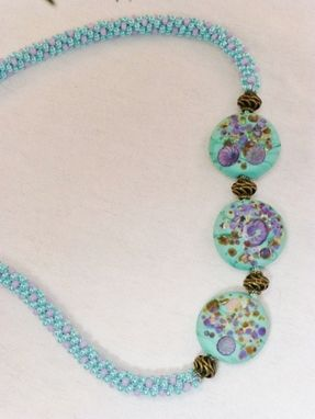 Custom Made Set - Turquoise/Purple Kumihimo Necklace With Lampwork Lentil Beads And Earrings