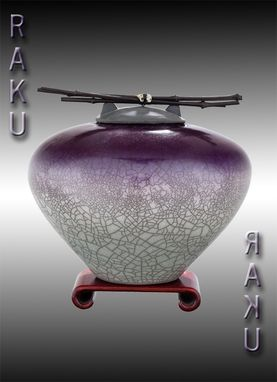 Custom Made Small Raku Urn In Eggplant Gray