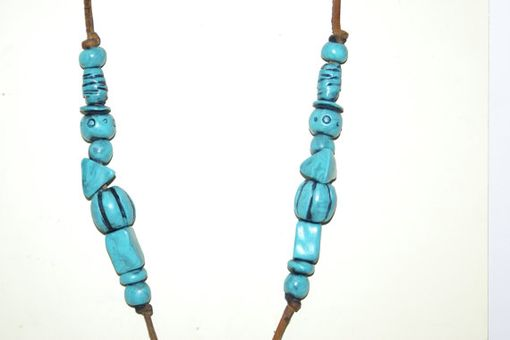 Custom Made Necklace, Turquoise Colored Scarab Beetle And Beads Egypt, Hand Sculpted Polymer