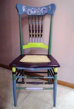 Custom Made Hand Painted Vintage Chair With Delphiniums And Hand Caned Seat