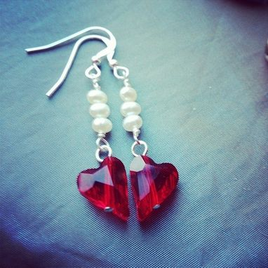 Custom Made Pure Hearts White Pearl Swarovski Crystal Sterling Silver Earrings