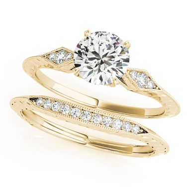 Custom Made Classic Round 14k Yellow Gold Diamond Wedding And Engagement Ring 1/15 Ct