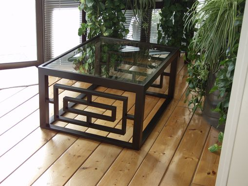 Custom Made Cherry Coffee Table With Glass Top.