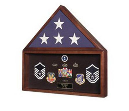 Custom Made Burial Flag Medal Display Case Ceremonial Flag Display