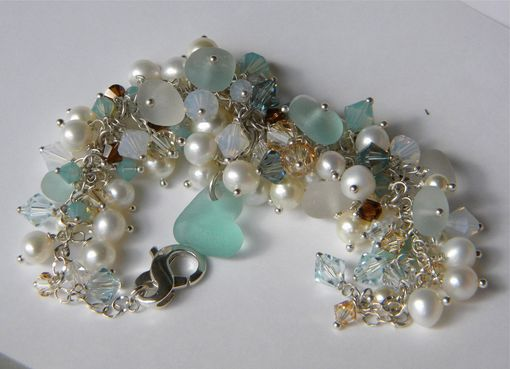 Custom Made Pearls And Crystals Convertible Jewelry With Puffy Heart Sea Glass