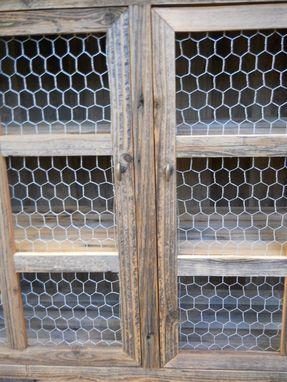Custom Made Large Barnwood Pie Cabinet With Chicken Wire
