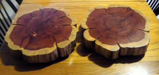 Custom Made Food Safe Cake Or Decorative Wood Stand Made From Cedar Tree Trunk Slices