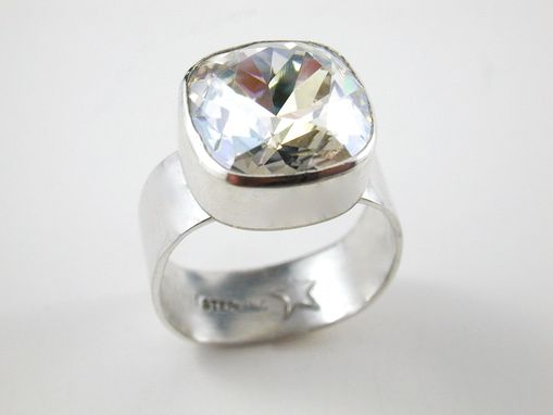 Custom Made 'Vaelyn' Sterling Silver And Square Swarovski Crystal Ring