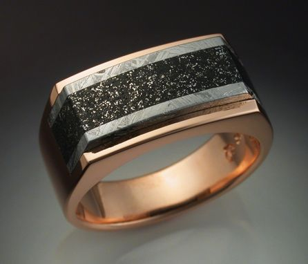 Custom Made 14k Rose Gold Mans Ring With Iron And Chondrite Meteorite