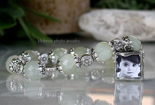 Custom Made Photo Bracelet With Jade And Silver Flower Beadcaps