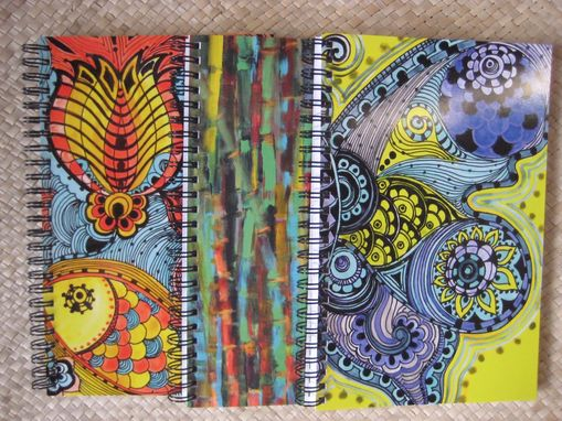 Custom Made Journal Spiral Notebook Diary Any 3 With Original Artwork- Green Yellow Blue Ochre