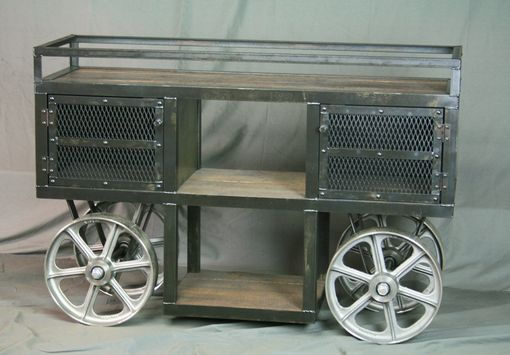 Custom Made Reclaimed Wood Industrial Trolley Bar Cart - Storage Console, Sofa Table, Tv Stand.