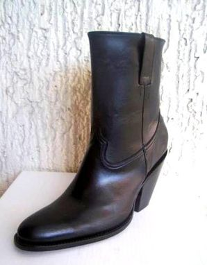 Custom Made Round Toe Side Zipper And Elastic Ankle Boot 4 Inch Heels Made To Order Any Size