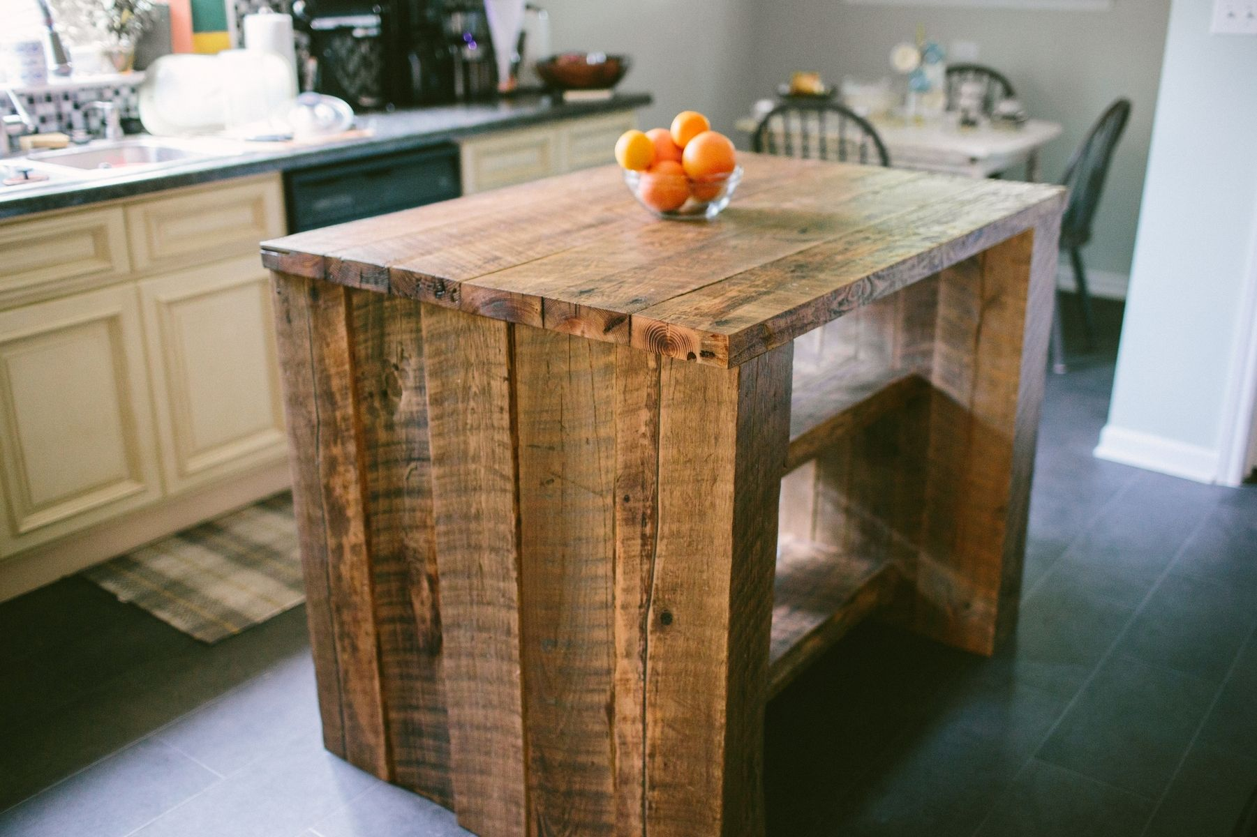 Custom reclaimed kitchen island by old north designs for Custom made kitchen islands