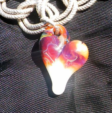 Custom Made Hand-Blown Glass Heart Charm In Amber, Purple, And White