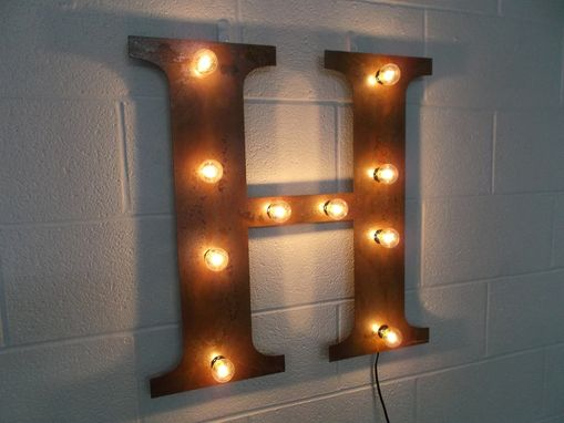 Custom Made Industrial Letter Wall Hanging Metal Letter Light Fixture 18 Inch Tall