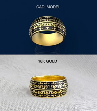 Custom Made 18k Yellow Gold Ring With Black Enamel.