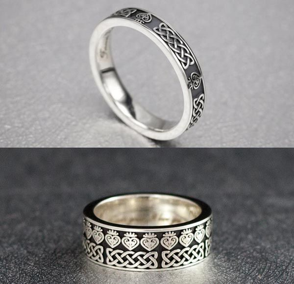 Jennifer S Bands These Matching Wedding Feature The Blending Of Irish And Scottish Symbols Love Celtic Knot Luckenbooth
