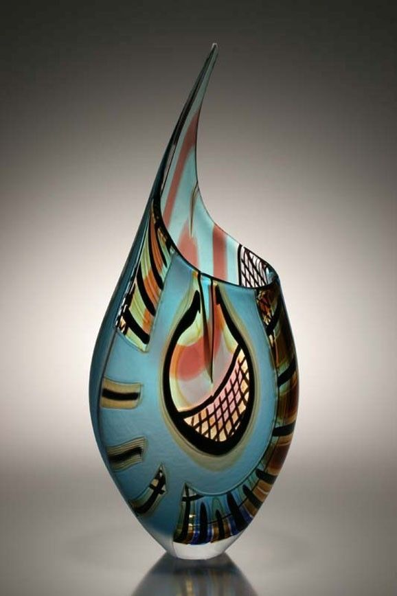 Custom Made Murano Art Glass Vase By Afro Celotto By
