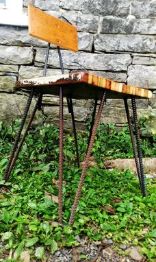 Custom Made Funky Industrial Dining Chairs With Hairpin Rebar Legs And Reclaimed Wood