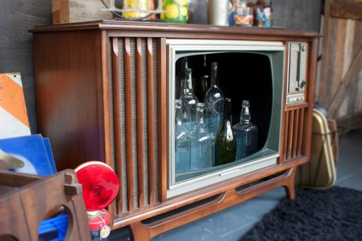 Hand made vintage tv television cocktail bar cabinet by - Made com meuble tv ...