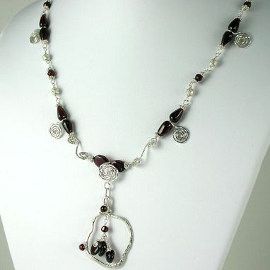 Custom Made Necklace. Sterling Silver And Garnet Gemstones