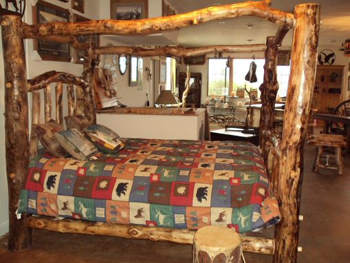 Custom Made Gnarly Aspen Log Canopy Bed