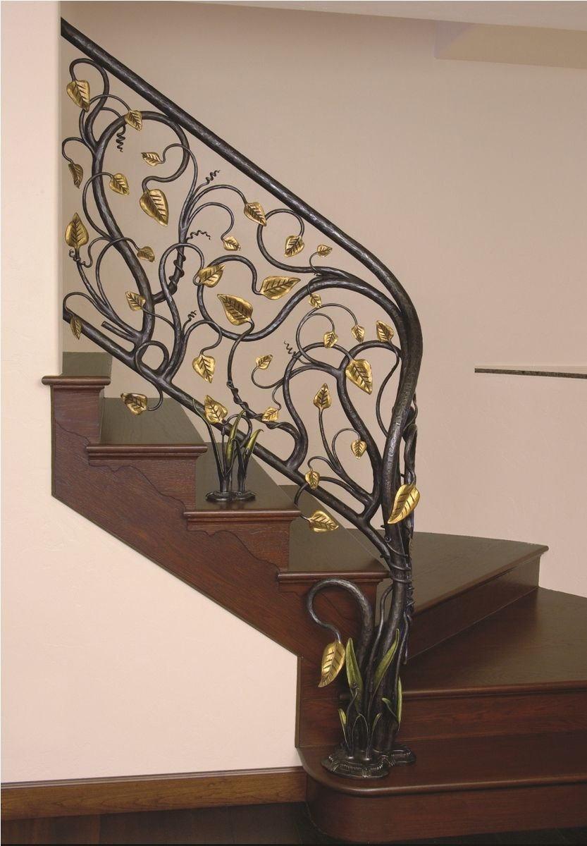 Handmade Branches With Leaves Stair Railing By Brian