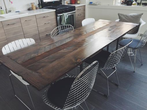 Custom Made Reclaimed Cedar And Leather Dining Table