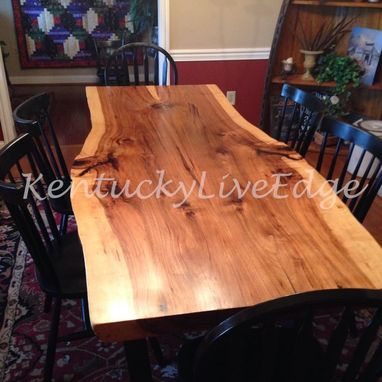 Custom Made Industrial Dining Table Live Edge Hickory Slab Dining Table