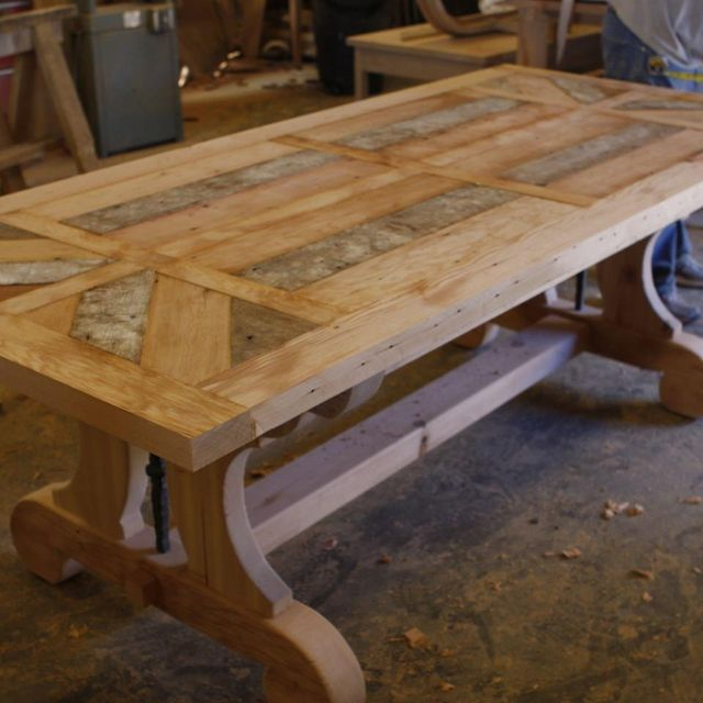 Hand Crafted Custom Trestle Dining Table With Leaf Extensions Built In  Reclaimed Wood by Mortise & Tenon Custom Furniture  CustomMade