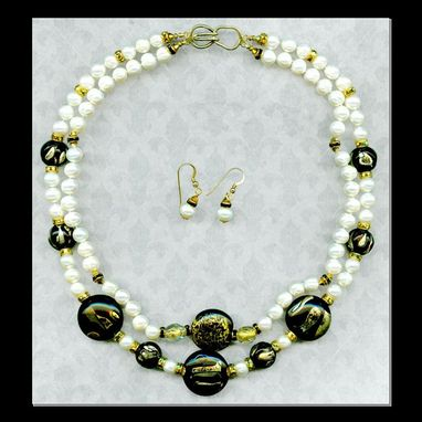 Custom Made Lil' Saint Pearl Necklace & Earrings Set