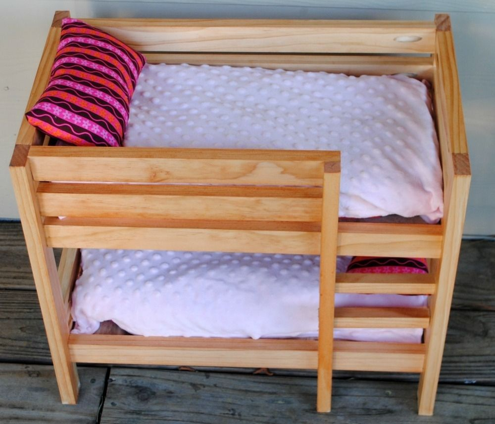 Handmade Stained Wooden 18 Inch Doll Bunk Bed By Bloomin Love