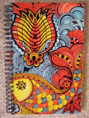 Custom Made Journal Spiral Notebook Diary With Original Fish Artwork-Yellow Orange Blue Ink