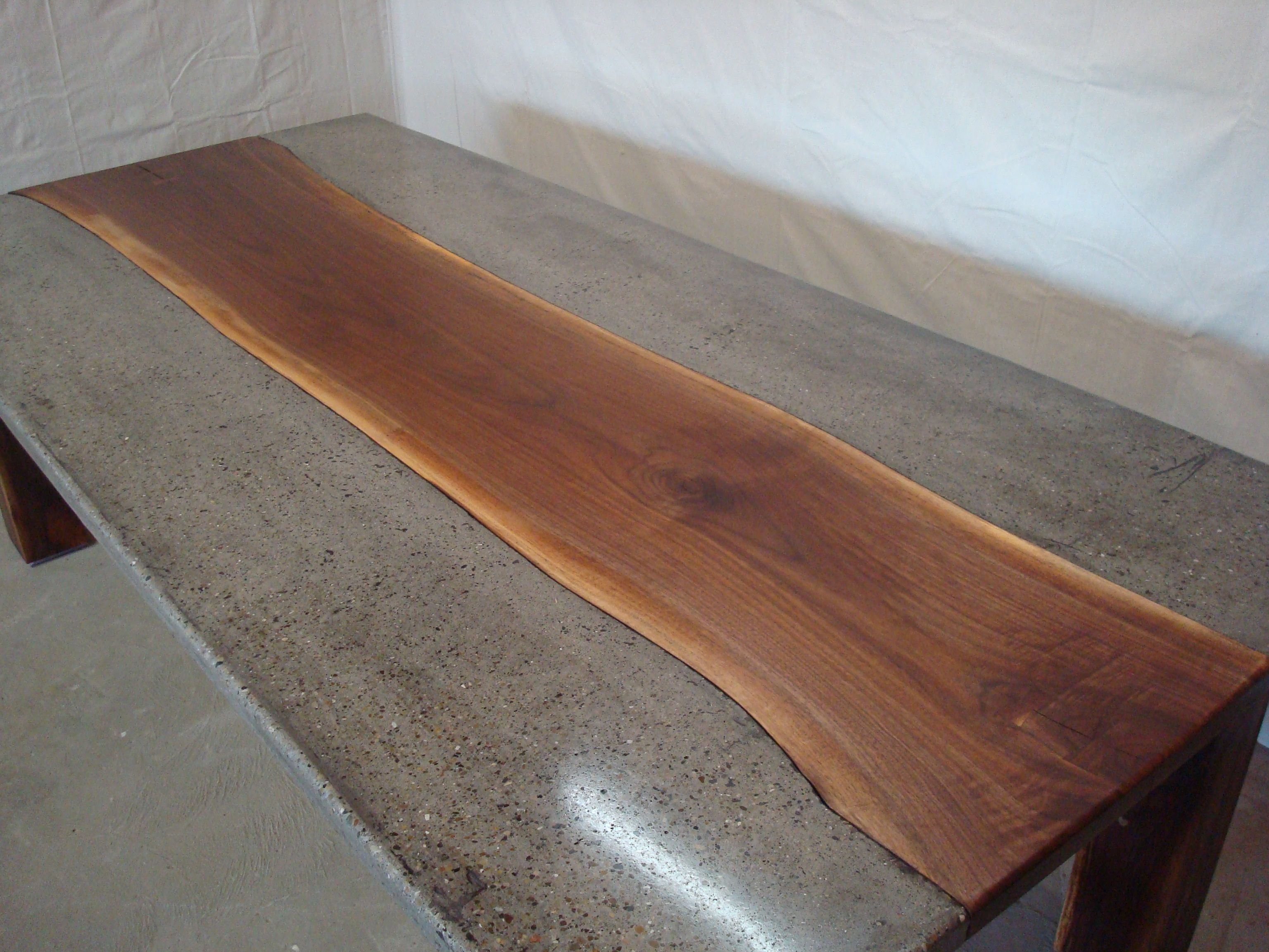 Handmade Live Edge Walnut And Concrete Conference Table By