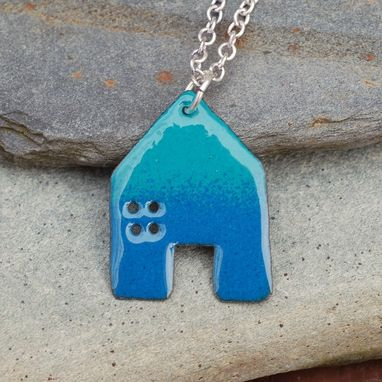 Custom Made Enamel House Necklace Pendant Copper Home Enameled Jewelry - Blue And Turquoise