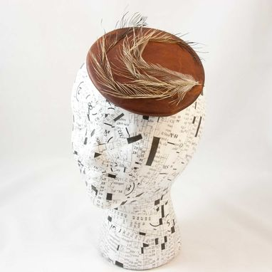 Custom Made Fascinator Leather Feather - Prairie Eye