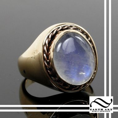 Custom Made Solid Gold And Moonstone Ring