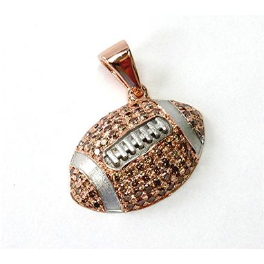 Custom Made Football Pendant Cognac Diamond Rose Gold