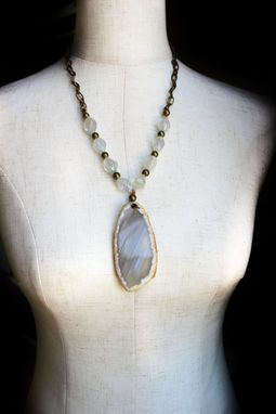 Custom Made Gray Agate Slice And Fluorite Necklace