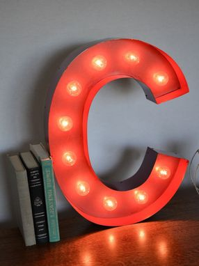 Custom Made Vintage Inspired Marquee Light- Letter C- Color Fire Engine