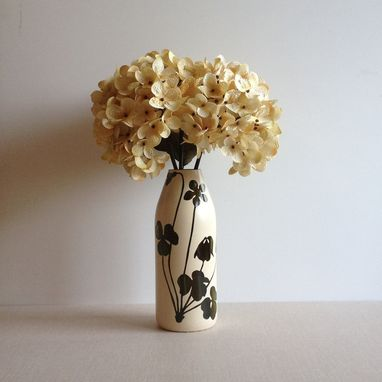 Custom Made Painted Flower Vase, Ivory, Brown, Wild Flower And Clovers